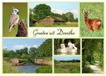 ansichtkaart landschappen Drenthe, Postcard landscapes Drenthe, Postkarte Landschaft Drenthe