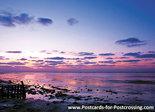 AnsichtkaartWaddenzee kaart- postcard sunset Wadden sea - postkarte Sonnenuntergang Wattenmeer UNESCO WHS