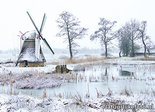 ansichtkaart winter Modelmolen Westendorp, postcard mill in winter, Postkarte Mühle im Winter