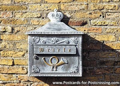 Ansichtkaart Duitse brievenbus, mailbox postcard German, Postkarten Deutschland Postkarte Deutsche briefkasten