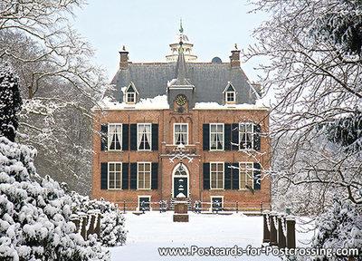 ansichtkaart kasteel Den Bramel in Vorden, postcardcastle Den Bramel, Postkarte Schloss Den Bramel