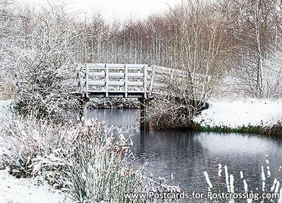 ansichtkaart bruggetje in de winter - Eernewoude, bridge in winter, Brücke im Winter