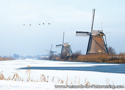 Unesco Ansichtkaart - molens van Kinderdijk, Unesco Postcard - Mills at Kinderdijk, Mühle von Kinderdijk