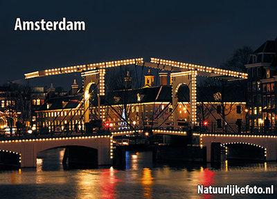 ansichtkaart Amsterdam Magere brug, Amsterdam postcardsSkinny bridge, Amsterdam Postkarten Magere Brücke