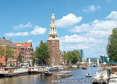 Amsterdamse grachten met Montelbaanstoren - postcard Amsterdam - postkarte Amsterdam UNESCO WHS