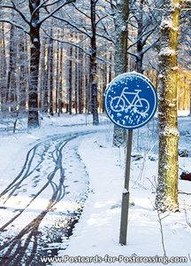 Ansichtkaart fietspad in de winter