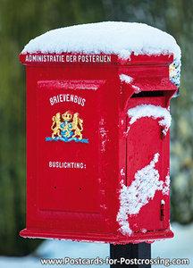 Ansichtkaart rodebrievenbus in de sneeuw