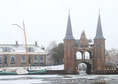 ansichtkaart waterpoort winter Sneek, Winter Postcard waterpoort Sneek, Winter Postkarte waterpoort Sneek