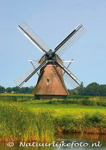 ansichtkaart Bullemolen Lekkum, mill postcard, Mühle Postkarte