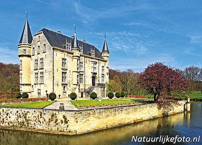 ansichtkaart kasteel Schaloen in Oud Valkenburg, postcardcastle Schaloen, Postkarte Schloss Schaloen