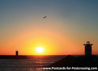 Ansichtkaart zonsondergang Scheveningen, postcard sunset Scheveningen, Postkarte Sonnenuntergang Scheveningen