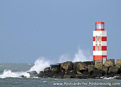 ansichtkaartPier van IJmuiden, postcard lighthouse IJmuiden, postkarte leuchtturm IJmuiden