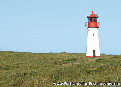 ansichtkaart vuurtoren List west Sylt, postcard lighthouse List west Sylt, postkarte leuchtturm List west Sylt