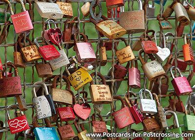 Ansichtkaart liefdesslotjes, Love lockerspostcard, PostkarteLiebesschlösser