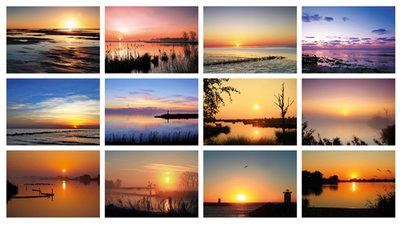 Kaartenset zonsopkomst en zonsondergang - Postcard sunrise and sunset - Postkarten Set Sonnenaufgang und Sonnenuntergang