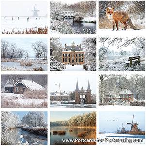 Postkaarten / ansichtkaarten set winter