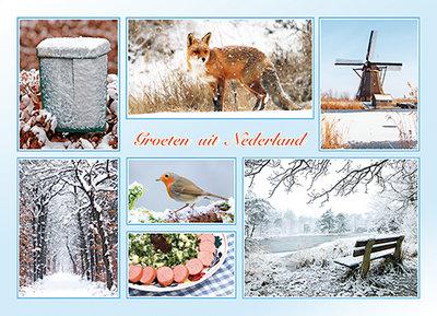 Ansichtkaart Groeten uit Nederland winter