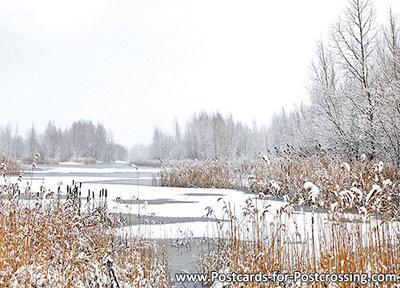 ansichtkaart winterslandschap, winter landscape postcard, Postkarte Winterlandschaft
