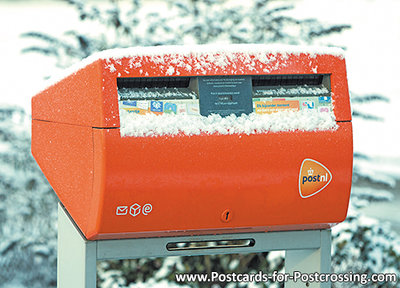 ansichtkaart  Nederlandse brievenbus in de sneeuw, postcard Dutch mailbox in the snow, Postkarte Nierderlandsche Briefkasten im
