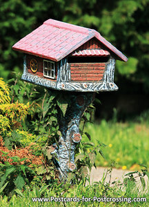 Ansichtkaart brievenbus huisje, postcard mailbox cottage, Postkarten Deutschland Postkarte briefkasten Hütte
