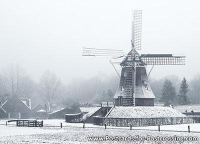 ansichtkaart winter Jantina, Hellingmolen Aalden, postcardwinter landscape Jantina, Hellingmolen Aalden, Postkarte wint