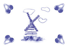 ansichtkaart Delfts blauwe molen van snoep