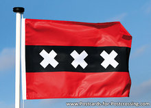 Ansichtkaart Amsterdamse vlag, postcard flag of Amsterdam, Postkarte Flagge von Amsterdam