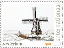 Postzegels voor Postcrossing-winterse molen